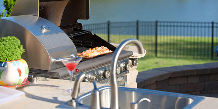 Barbecue Grill in Outdoor Kitchen